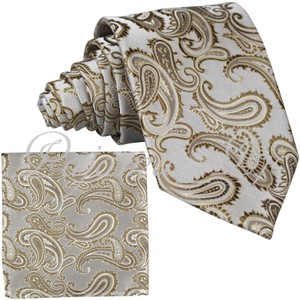 Brand Q Caramel New Men's Beige Paisley Design Self Necktie and Handkerchief Set Tie/Bowtie