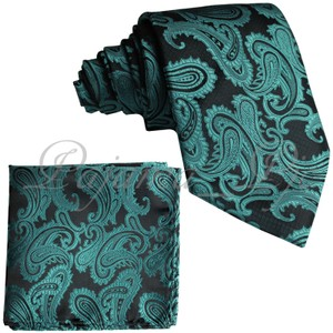 Brand Q Green New Men's Mermaid Paisley Design Self Necktie and Handkerchief Set Tie/Bowtie