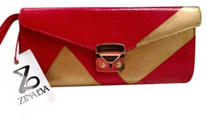 Zina Eva Red Gold Clutch