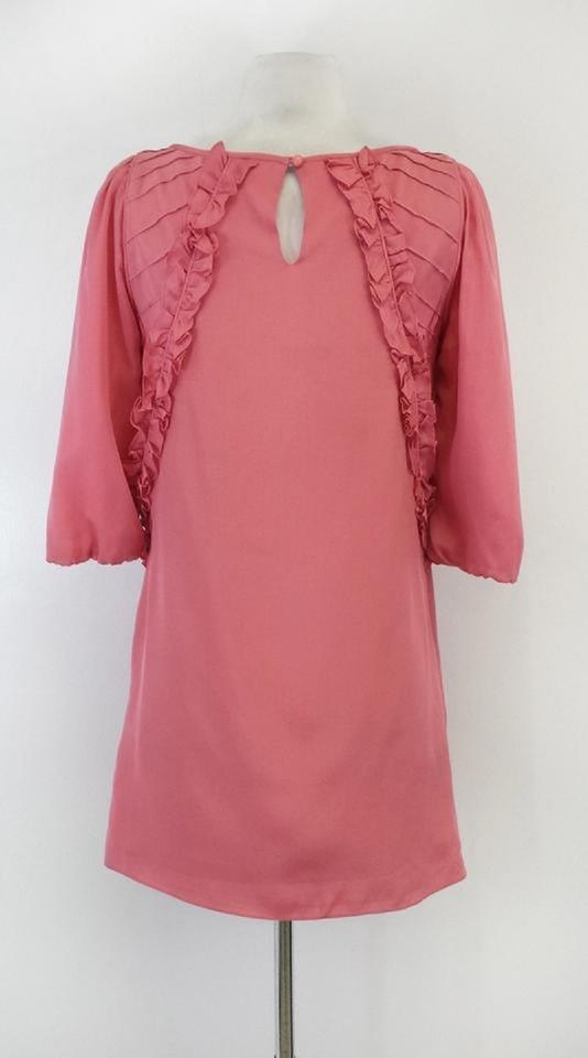 d00b66d648714b Tibi Pink 3 4 Sleeve Ruffle Silk Shift Mini Short Casual Dress Size ...