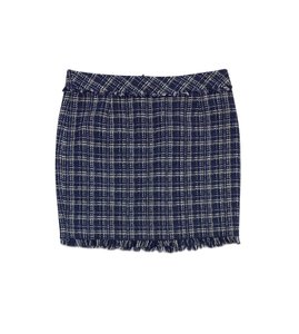 Trina Turk Blue White Tweed Mini Skirt