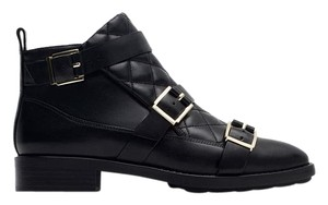 Zara Buckled Quilted Short black Boots