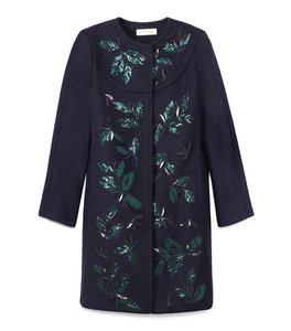 Tory Burch Holiday Sequin Embroidered Embellished Winter Pea Coat