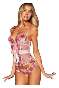 Victoria's Secret Victoria's Secret Very Sexy diamond floral embroidered Roses bustier/corset PLUS Matching Garter Belt & Built in Thong!! 36D & Large!