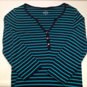 J.Crew Size M 100% Cotton Made In Cambodia T Shirt Navy and Teal/Green Stripe