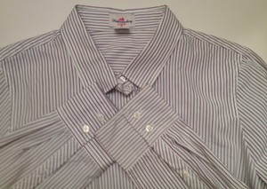 J.Crew Size M 100% Cotton Button Down Shirt White with purple and very dark green pinstripes