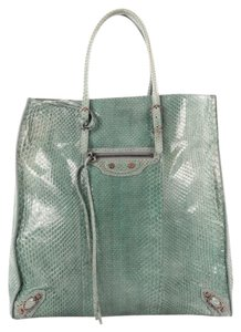 Balenciaga Python Tote in Sea Green