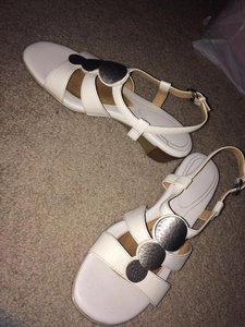 Naturalizer Buckle Leather Wedge white Sandals