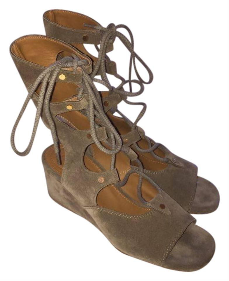 66ed9272361 Chloé Tan Suede Foster Gladiator Wedge Sandals Size US 5.5 Regular ...