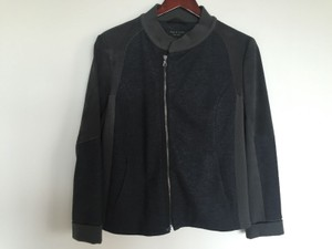 Rag & Bone Wool Lambskin Leather Gray Leather Jacket