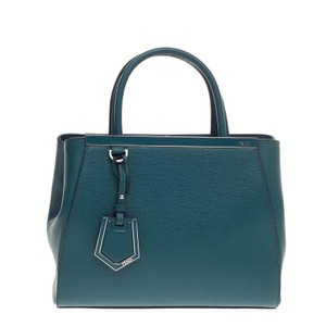 Fendi Leather Tote in Ocean Blue
