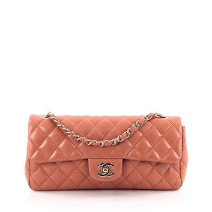 Chanel Leather Peach Clutch