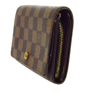 Louis Vuitton Bifold Wallet Purse Damier Leather Brown N61730 Tresor Men