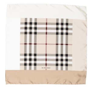 Burberry Tan, black, red Burberry Nova check print silk scarf