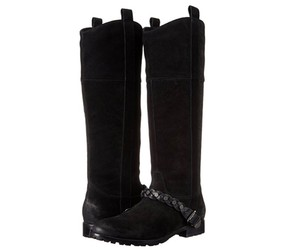 Belle by Sigerson Morrison Suede Embellished Riding Boot Black Boots