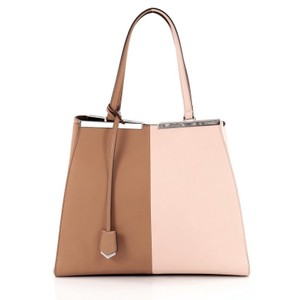 Fendi Leather Tote in Brown and Pink