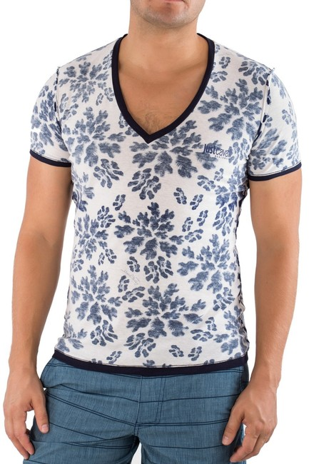Just Cavalli Men White Blue Printed Vneck Tshirt Tee L 52 durable service