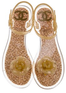 Chanel Jelly Camellia Gold Sandals
