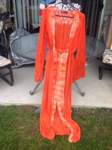 Orange/white Maxi Dress by Gypsy05