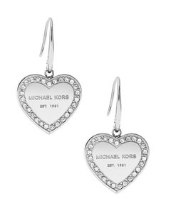 "Michael Kors Michael Kors MKJ5396040 Logo Heart Crystals Silver 1"" Drop Earrings"