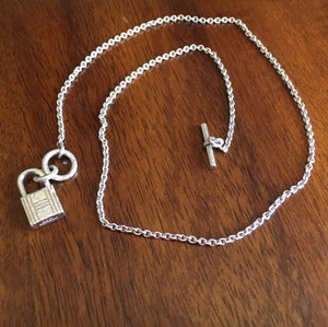 Hermès $650 Authentic Hermes Cadenas Kelly Lock Necklace, Sterling Silver