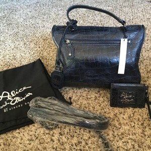 Alice + Olivia + $595 Nwt Embossed Leather Satchel in Dark Navy Blue