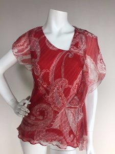 Etro Paisley Silk Top Red White