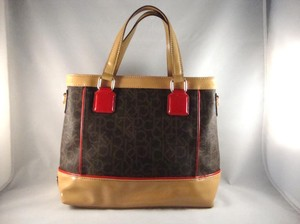 Calvin Klein Satchel in Brown/tan/red
