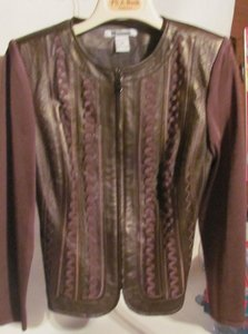 Peter Nygard light brown Gold sheen Leather Jacket