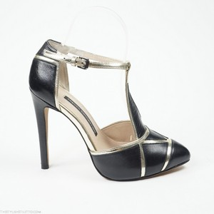 French Connection Candice 37 Gold Black Pumps