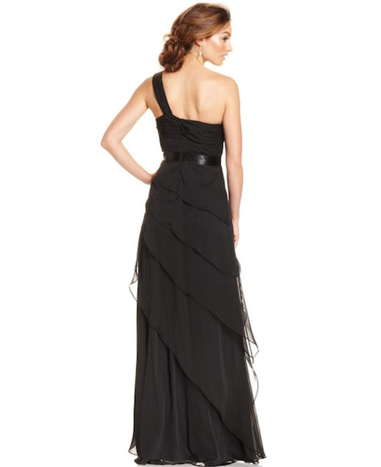 Adrianna Papell Black One Shoulder Tiered Gown Long Formal Dress ...