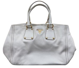 Prada White Leather Hobo Bag