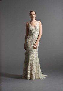 Watters Watters 6012b Lace V-neck Bridal Gown Wedding Dress