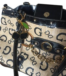 Guess Heart Lining Cherry Keychain Satchel in Signature Logi