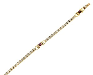 BELOW WHOLESALE 18k Gold & 1.5cts diamond ruby tennis bracelet