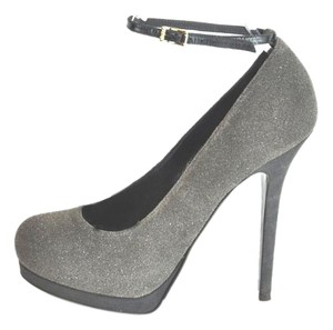 Fendi Decollete-crosta Dark Shimmer/suede Gray Pumps