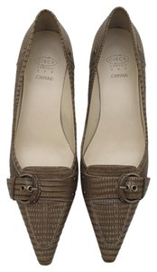 Circa Joan & David Snakeskin Pointed Toe Kitten Heel Brown Pumps