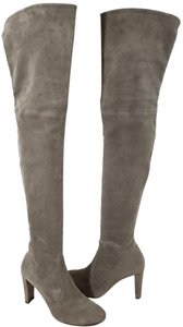Stuart Weitzman Over The Knee Stretch Suede Flexible Rubber Sole Back Tie Made In Spain Grey Suede Boots