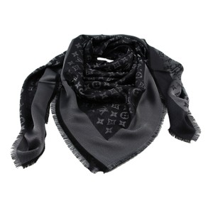 Louis Vuitton Shiny Black and Silver Monogram Scarf