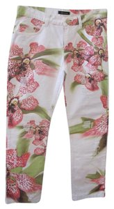 Roberto Cavalli Floral White Straight Pants White/Floral