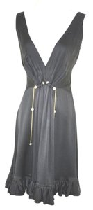 Roberto Cavalli Sleeveless Embellished Low V Neck Silk Dress