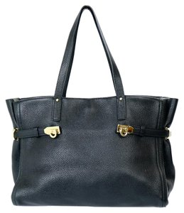 Salvatore Ferragamo F074 Leather Belted Tote in Black