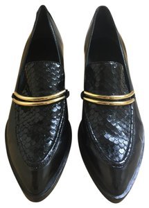 Sigerson Morrison Loafer Embossed Leather Chic Black with Gold Metal Detail Boots