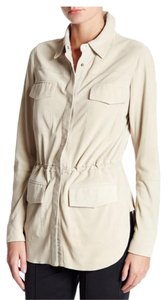 Vince Suede Leather Drawstring Waist Leather Tan Leather Jacket