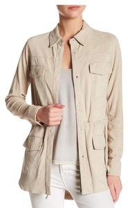 Vince Suede Drawstring Waist Tan Leather Jacket