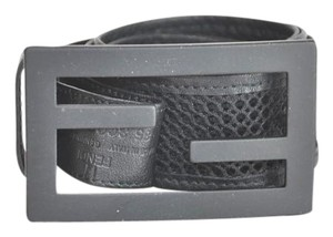 Fendi Fendi Logo Embellished Black Leather Mesh Waist Belt 31/35