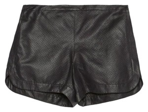 Zara Perforated Navy Faux Leather Jogger Dress Shorts Black
