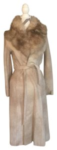 Vintage Fur Suede Leather Trench Coat