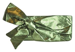 Valentino Embossed Leather Bow Olive Green Metallic Clutch