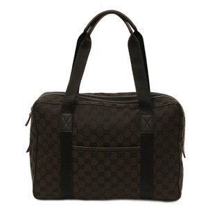 Gucci Gg Brown Canvas Unisex Business Tote 282529 Shoulder Bag